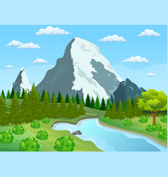 river flowing through the rocky hills vector image