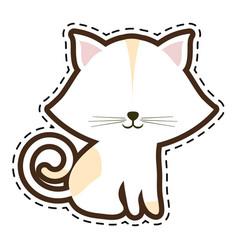 Cat feline animal cut line vector