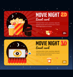 Movie night horizontal banners vector