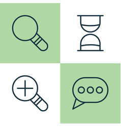 Web icons set collection of increase loup vector