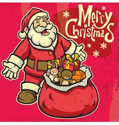 Vintage style santa greeting christmas vector