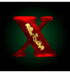 Velvet x letter with gold vector
