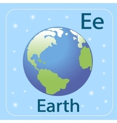 The english letter e and the planet earth vector
