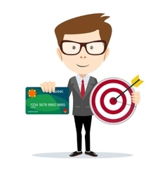 Man holding a credit card and target vector