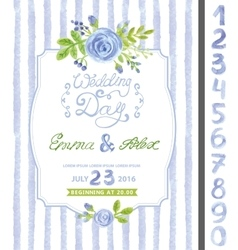 Wedding invitationwatercolor blue flowerstrips vector