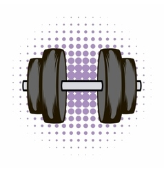 Barbell comics icon vector