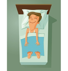 Man asleep in bed vector