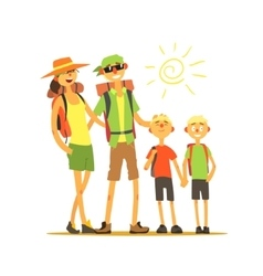 Family of four travelers vector