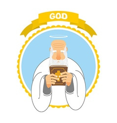 God and holy bible good grandpa keeps holy book vector