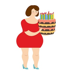 Birthday woman fat cheerful girl and cake with vector