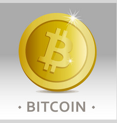Bitcoin icon as golden coin vector