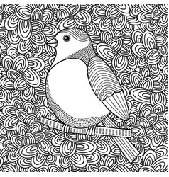black and white of bird for coloring vector image vector image