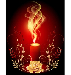 Burning candle with smoke vector image vector image