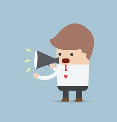 Businessman speaking through megaphone vector image