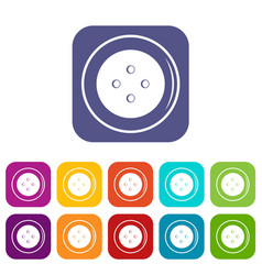 Button for clothing icons set flat vector