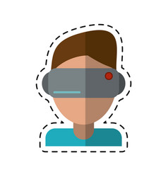 Cartoon boy wearing vr goggles vector