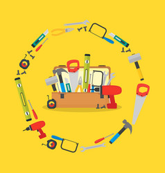 cartoon hand tools box vector image