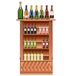 Champagne and wine bottles on shelves vector image vector image