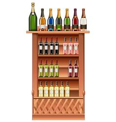 Champagne and wine bottles on shelves vector