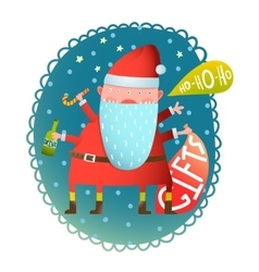 Cheerful fun monster crazy santa claus with gifts vector