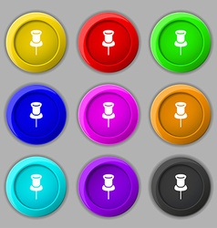 Clip icon sign symbol on nine round colourful vector