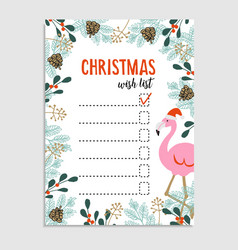 Cute christmas card wish list flamingo with vector