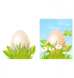 Easter big egg on grass vector image vector image