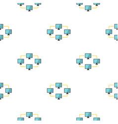 Exchange of data between computers pattern flat vector