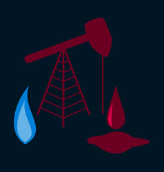 Flat icon on stylish background gas and oil vector