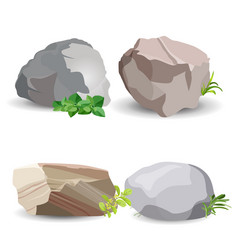 Four boulder stones with green grass isolated on vector