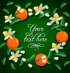 Frame of orange and flowers vector