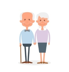 Happy old couple together Cute Seniors couple vector image vector image