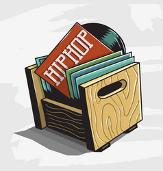 Hip hop vinyl records storage box image vector