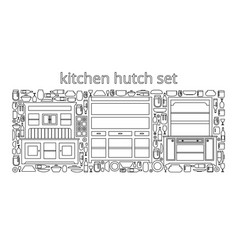Hutch buffet set with dishes of different bottles vector