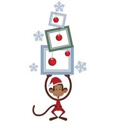 Merry Christmas monkey vector image