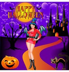 Postcard on halloween girl vector