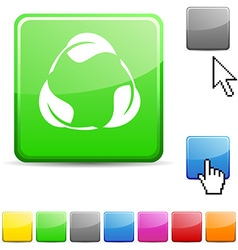 Recycle glossy button vector
