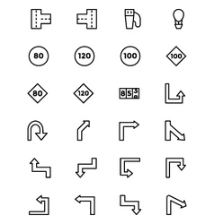 Road outline icons 4 vector
