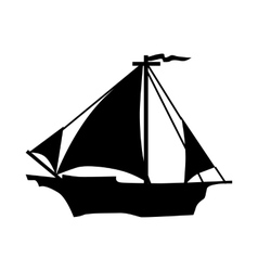 Sailing ship silhouette vector image vector image