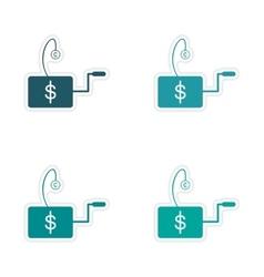 Set of stylish sticker on paper economic icon logo vector