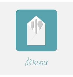 Silver fork knife spoon napkin icon menu cover vector