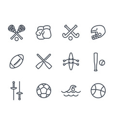 Sports and games line icons on white vector
