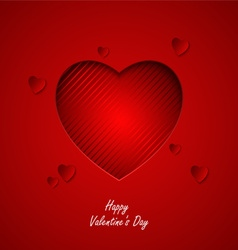 Valentine card with red hearts cut out template vector