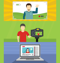 Video blog channel banner concept set flat style vector