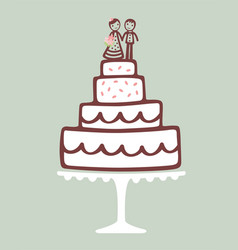 Wedding cake with topper vector