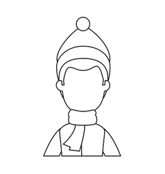 Young man with winter clothes vector
