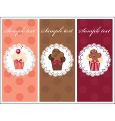Beautiful card with sweet cupcakes Dessert set vector image