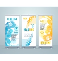 Roll up banner stand design with abstract vector