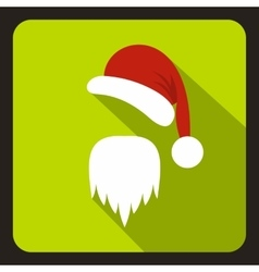 Hat and long beard of santa claus icon flat style vector