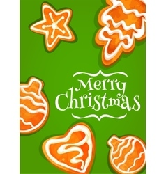 Gingerbread cookie poster for christmas design vector